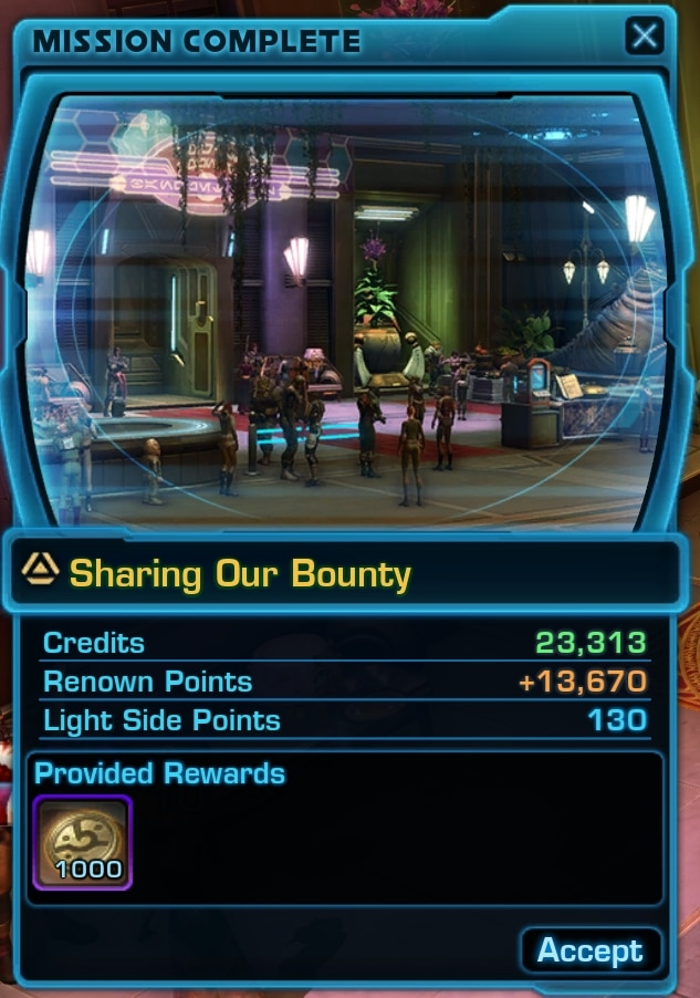 Sharing our Bounty mission rewards