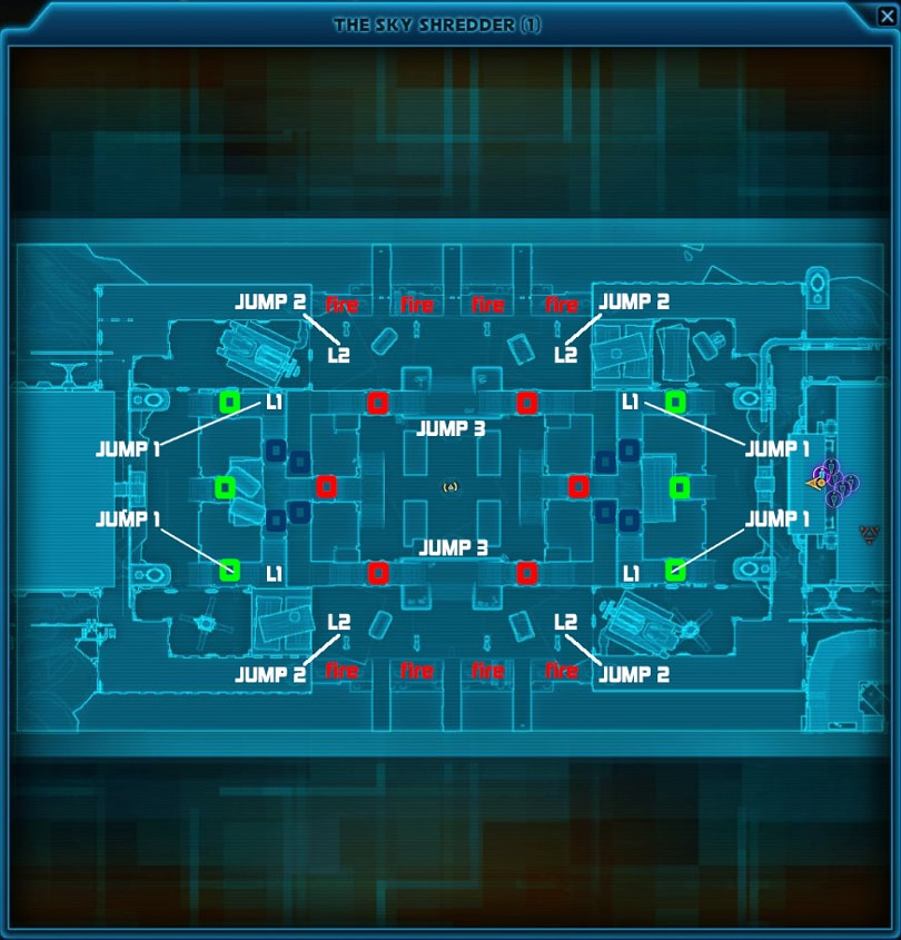 SWTOR Vandin Huttball Map Layout with Places of Interest Marked