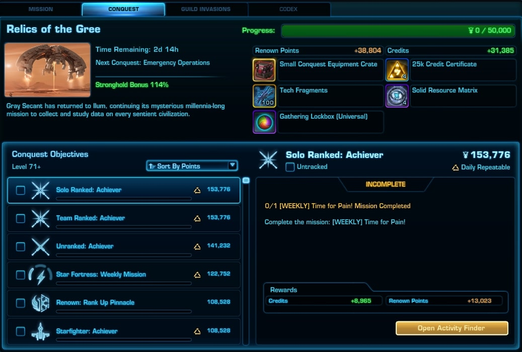 SWTOR Personal Conquest Tab 6.2 - SWTOR Guild Conquest changes