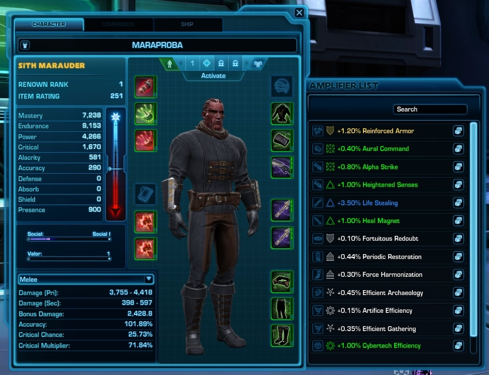 SWTOR 6.2.1 Amplifiers Screen UI Changes - swtor 6.2.1 pts