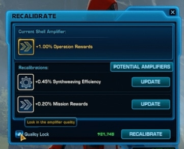 SWTOR Update 6.2.1 Lock Quality check in Recalibrate window
