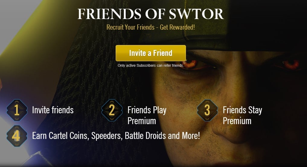 Refer a Friend SWTOR Program official page